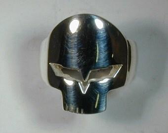 """Sterling Silver Corvette """"Jake"""" Skull Ring"""