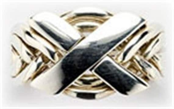 Sterling Silver or Gold Mens Six Band Puzzle Ring 6N