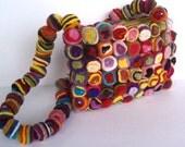 Swirly Pop Felt Bag by YUMMI Unique beautiful fun colorful clutch purse