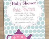 Baby Shower Invitation or Bridal Shower Invitation - Pink Purple Blue Tea Party - Printable Digital File