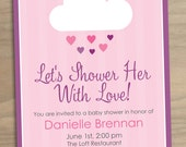 Baby Shower or Bridal Shower Invitation Baby Girl Shower Her with Love Pink Rain Cloud - Digital Printable File
