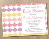 Baby Shower or Bridal Shower Invitation Scalloped Pattern Custom Colors - Pink Purple Yellow - Girl - Digital Printable File