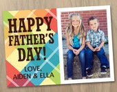 Fathers Day Photo Card - One (1) Photo - Bright Plaid for Dad - Custom Personalized Digital Printable File