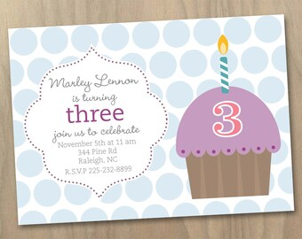 Birthday Invitation - Girls Polka Dotted Cupcake with Candle - Pink Purple Blue - Printable Digital File