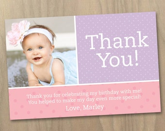 Thank You Photo Card Baby Girl First 1st Birthday