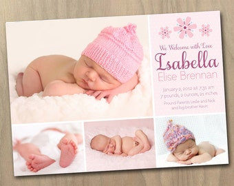 Photo Birth Announcement - Baby Girl - Pink and Purple Flowers - Four (4) Photos - Custom Personalized Printable Digital File
