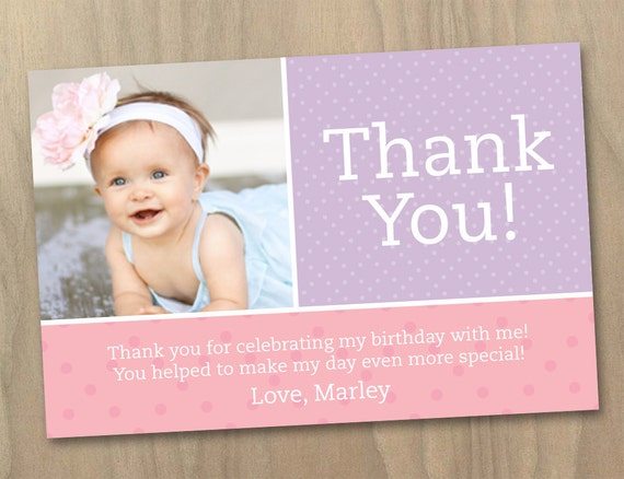 Items similar to Thank You Photo Card - Baby Girl First (1st) Birthday Invitation - Pink and ...