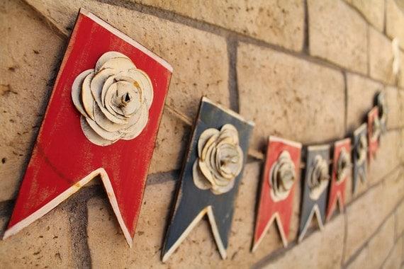 Patriotic Flower Banner- Cardboard- Repurposed