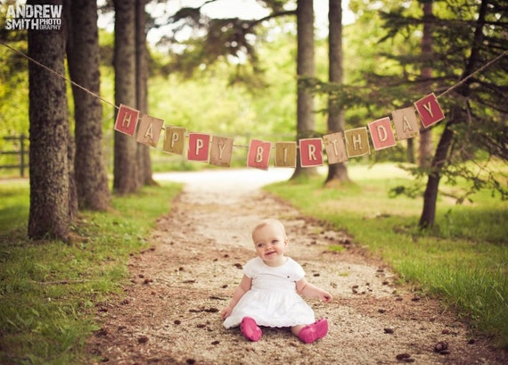 Happy Birthday banner - Cute as a Button- PINK