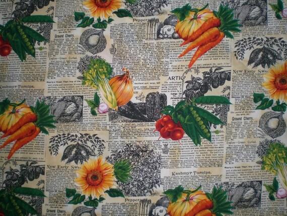Vintage Style Garden Fabric 100 percent cotton Newspaper Print Veggie