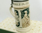 Beer Stein Ceramic Small With Pewter Lid