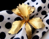 Vintage Orchid Brooch Gold Tone Etched Pin