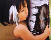 Pastel Drawing Native American Girl Feathers Fine Art ACEO Print