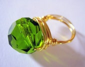 Peridot Faceted Glass Bead Gold Wire Wrapped Cocktail Ring - size 8.5