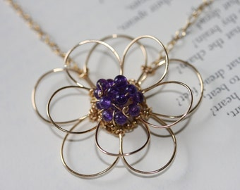 Double flower amethyst necklace
