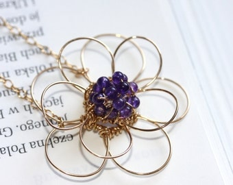 Handmade double flower necklace with amethyst beads