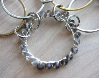 Modern smoky quartz circles in silver