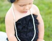 Black lace petti romper with headband