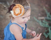 Fall inspired yellow, brown and ivory flower baby gril headband