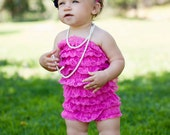 Pink lace ruffle petti romper for baby and toddler