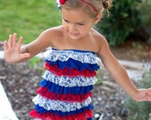 Fourth of July red white and blue striped ruffle romper with headband