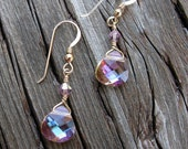 Lavender crystal earrings, Swarovski FREE GIFT WRAP