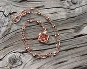 Rose gold necklace with rose gold wild rose charm, rose gold jewelry, handmade rose gold, handmade necklace