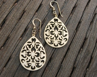 Filigree earrings, matte gold earrings, brushed gold earrings