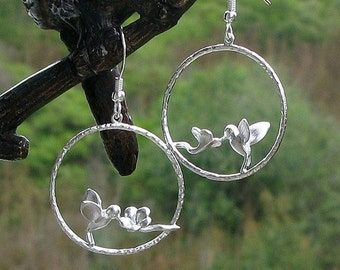 Silver hummingbird earrings, hummingbird jewelry, silver hummingbird