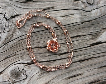 Handmade Rose gold necklace with wild rose charm