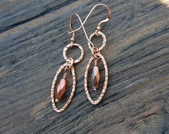 Rose gold earrings with Czech glass drops, handmade rose gold
