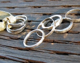 Handmade silver rings, Three stackable bands, 3 HANDMADE rings