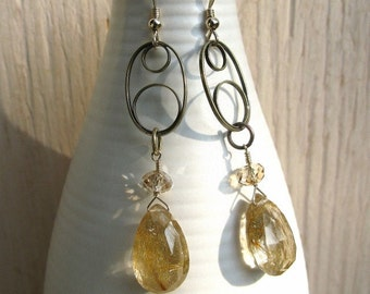 Rutilated quartz earrings, rutile quartz earrings, handmade earrings, natural rutilated quartz