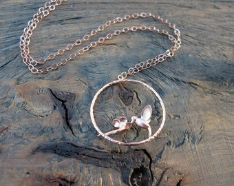 Rose Gold hummingbird necklace, rose gold hummingbird
