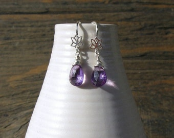 Amethyst earrings with silver lotus, handmade amethyst, handmade earrings