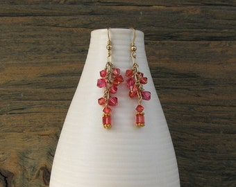 Pink crystal earrings , watermelon pink, 14k gold fill