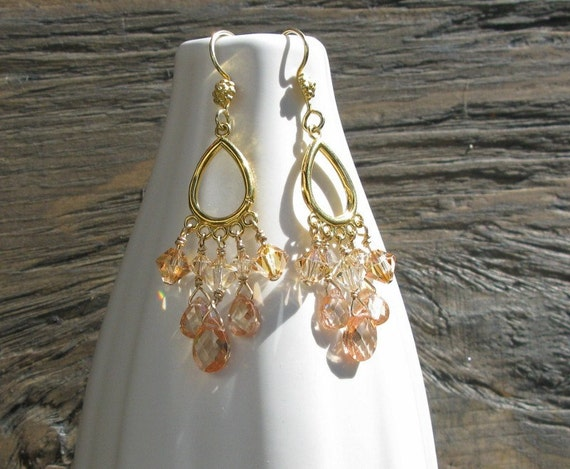 Gold chandelier earrings,gold vermeil, cubic zirconia and Swarovski crystals