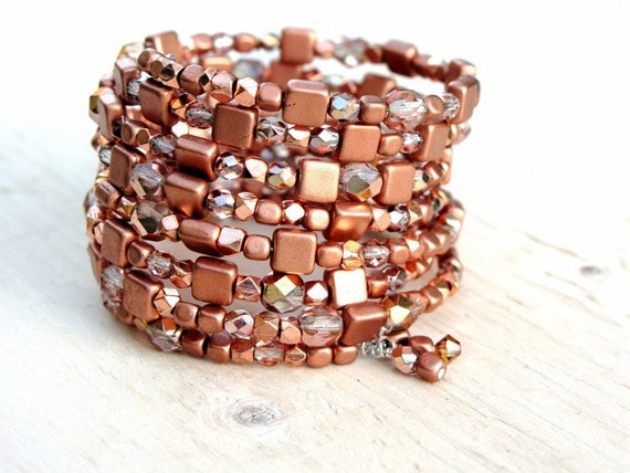 RESERVED for Virginia, Copper wrap bracelet, ENLARGED