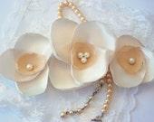 Satin and Chiffon Bridal Hair Clip, set of 3, Magnolia bloom, Southern Charm Wedding