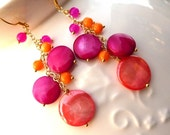 Bright Dangly Mother of Pearl Fashion Earrings
