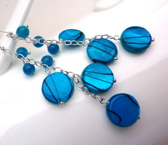 Dangling Carribean Blue Mother of Pearl Zebra Stripe Coin & Candy Jade Drop Earrings. FASHION Chandelier Earrings. Chain Beadwork Earrings.