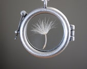 Round Dandelion Seed Necklace Dandelion Necklace Glass Locket Terrarium Necklace