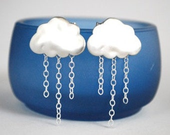 Silver Rain Cloud Earrings  Silver Chain