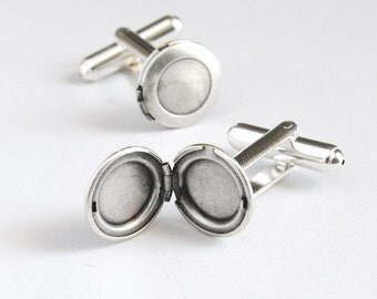 Silver Locket Cuff Links.