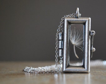 Dandelion Necklace Rectangular Dandelion Seed Necklace