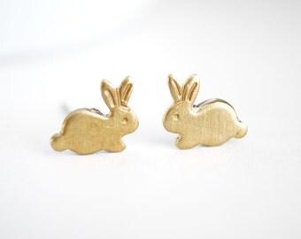 Tiny bunny earrings. Small brass bunny post earrings. Tiny gold rabbit earrings stud