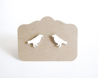 White Bird Stud Earrings, Dove Earrings