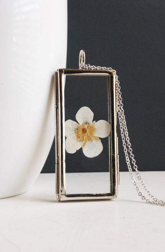 White Flower Necklace. Flower Locket Necklace.