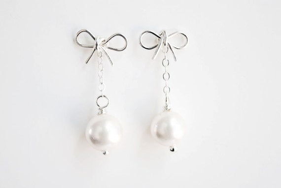 Silver Bow And Freshwater Pearl Earrings. Bridal and Bridesmaid Jewelry.