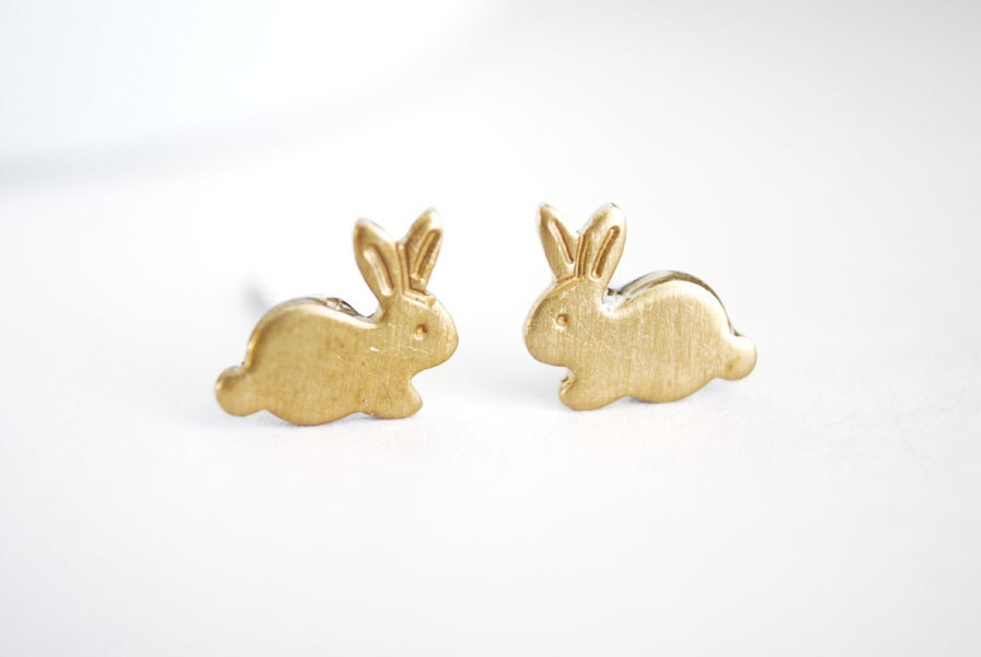 bunny earrings tiny bunny earrings small brass bunny post earrings tiny 8679